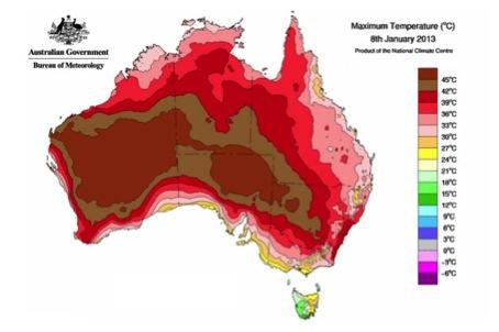 Maximum temperature map for Australia, January 8th 2013