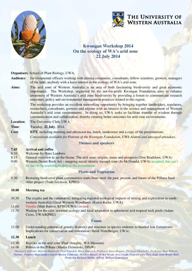 Kwongan workshop on ecology or the arid zone-page-1
